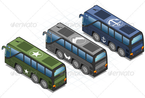 GraphicRiver Isometric Set of Military Buses 3838348