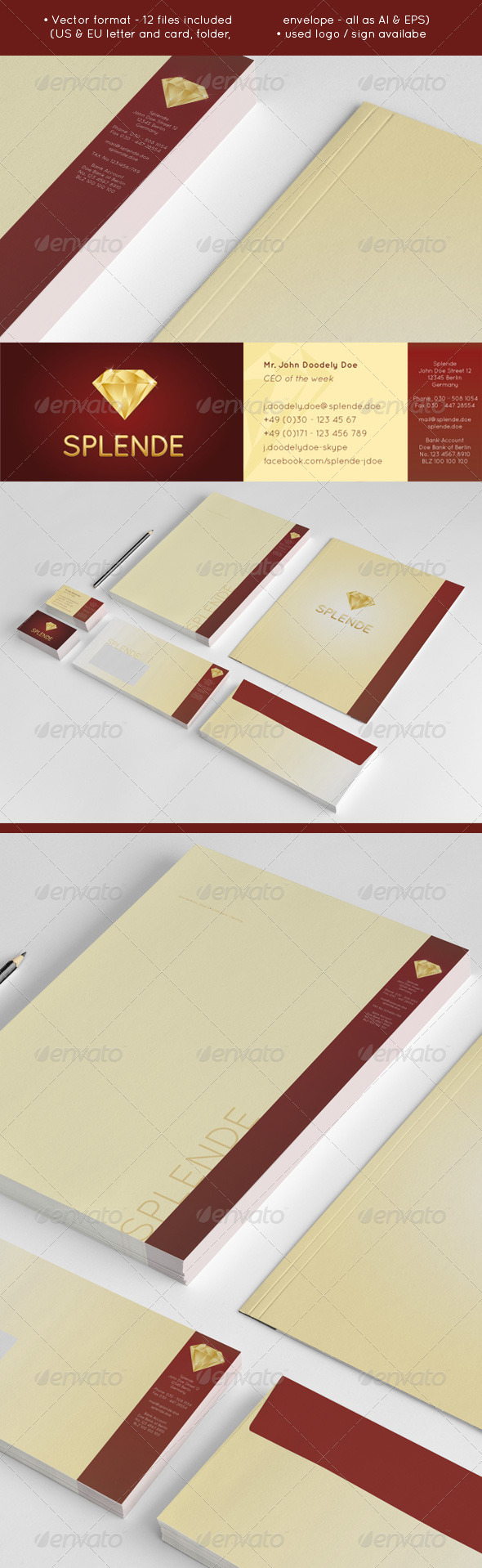 GraphicRiver Splende Golden Vector Diamond Jeweler Stationery 3769385