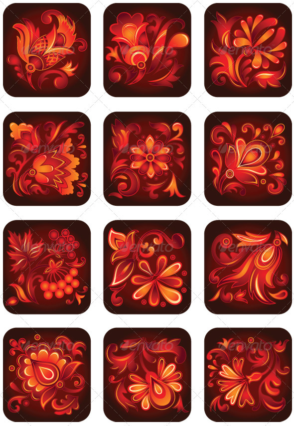 GraphicRiver Set of Decorative Flower Ornaments 3839522