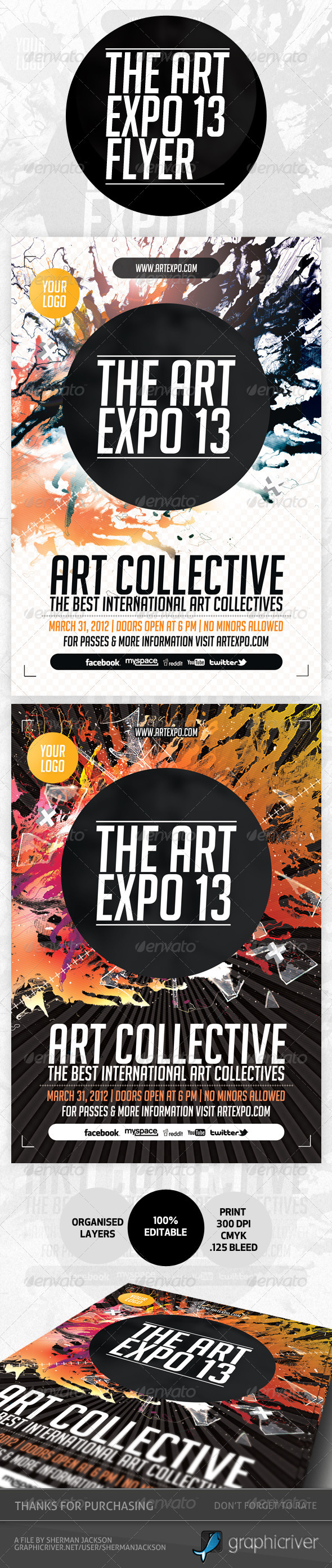 GraphicRiver Art Expo & Art Show Event Flyer Template PSD 3840049