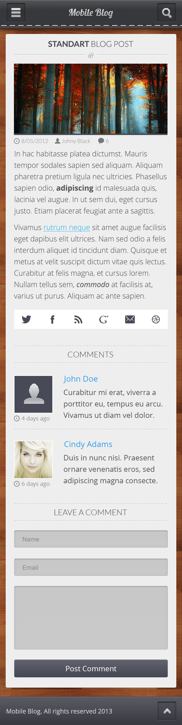 Mobile Blog PSD