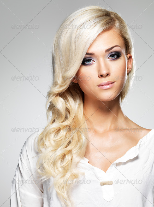 Fashion model with long white hair - Stock Photo - Images