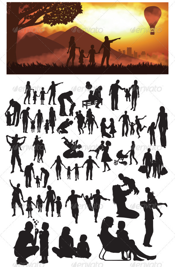 GraphicRiver Family Silhouettes 3840247