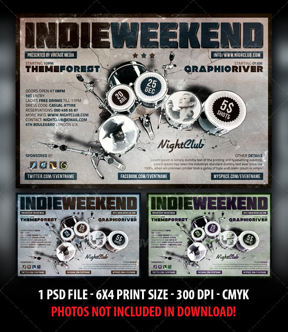 Indie Rock Weekend Party / Concert Flyer - Clubs & Parties Events