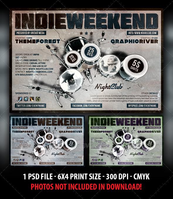 GraphicRiver Indie Rock Weekend Party Concert Flyer 3840684