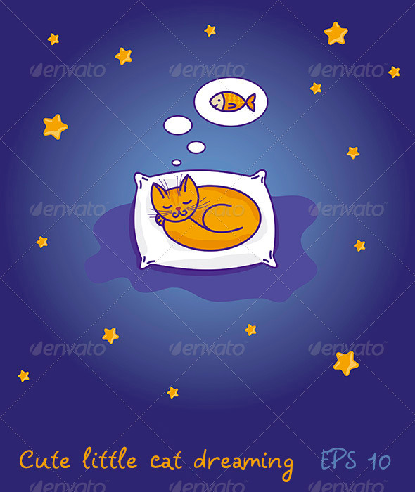 GraphicRiver Little cat sleeping and dreaming of fish 3841270
