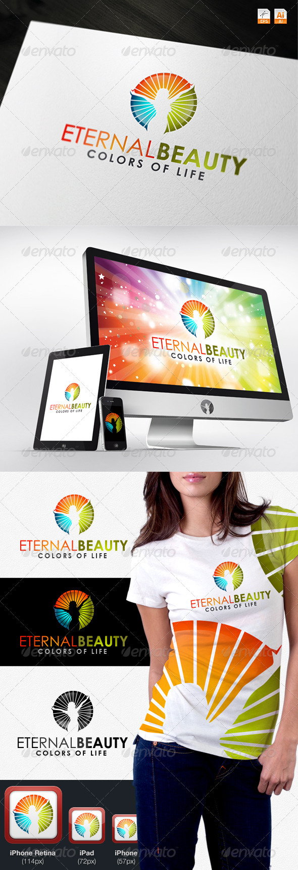 Eternal Beauty - Colors of Life Logo - Humans Logo Templates