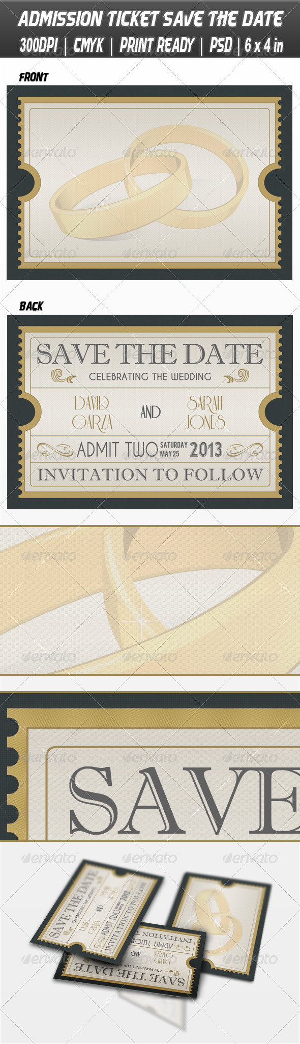 GraphicRiver Admission Ticket Save The Date 3841754