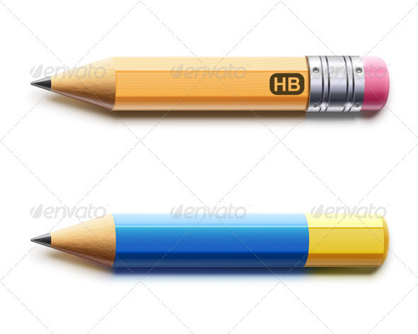 GraphicRiver Two Sharpened Detailed Pencils 3841770