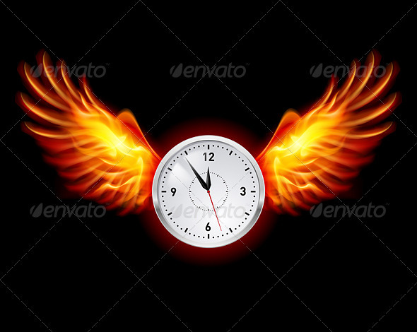 GraphicRiver Clock with Fire Wings 3841815