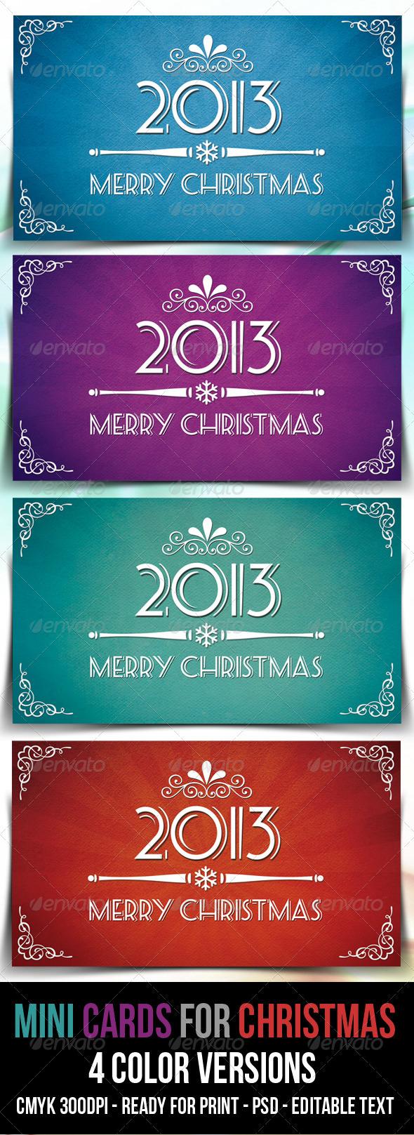 GraphicRiver Retro Mini Cards for Christmas 3663631