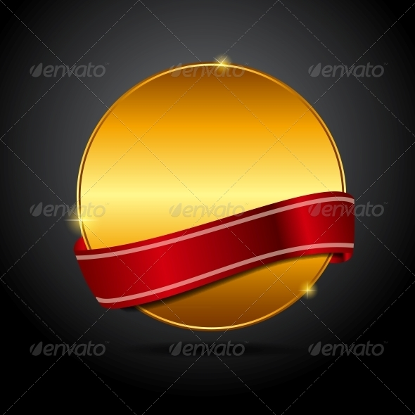 GraphicRiver Vector Label with Red Ribbon 3842033