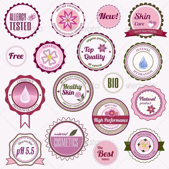 GraphicRiver Set of Cosmetic Badges Labels and Stickers 3842367