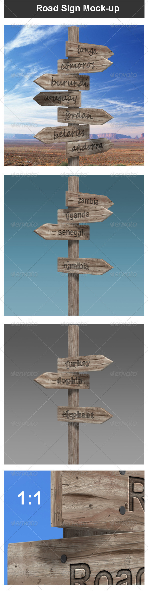GraphicRiver Road Sign Mock-up 3843071