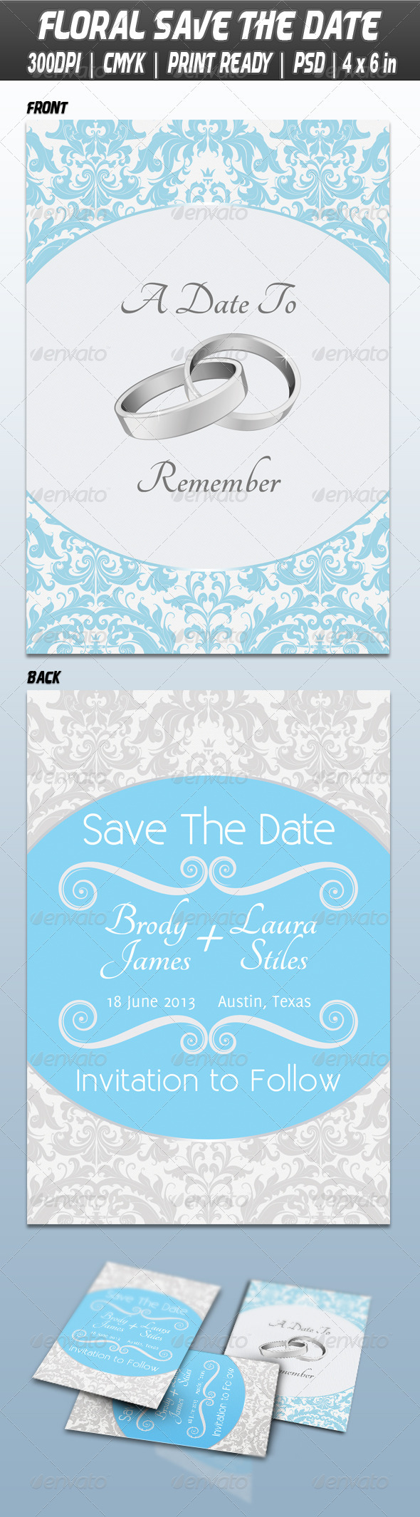 GraphicRiver Floral Save The Date Wedding 3843073