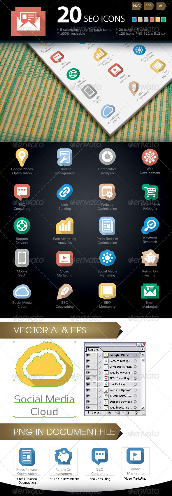 GraphicRiver SEO Services Icons 3843175
