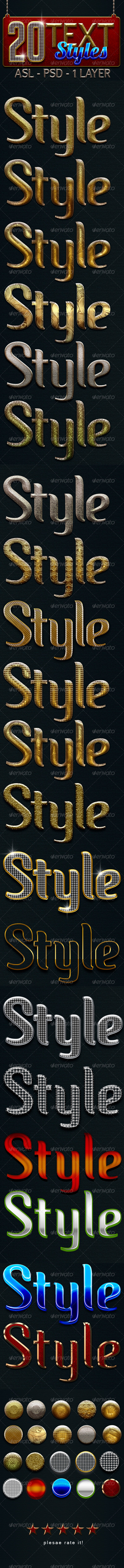 GraphicRiver 20 Text Layer Styles 3843385