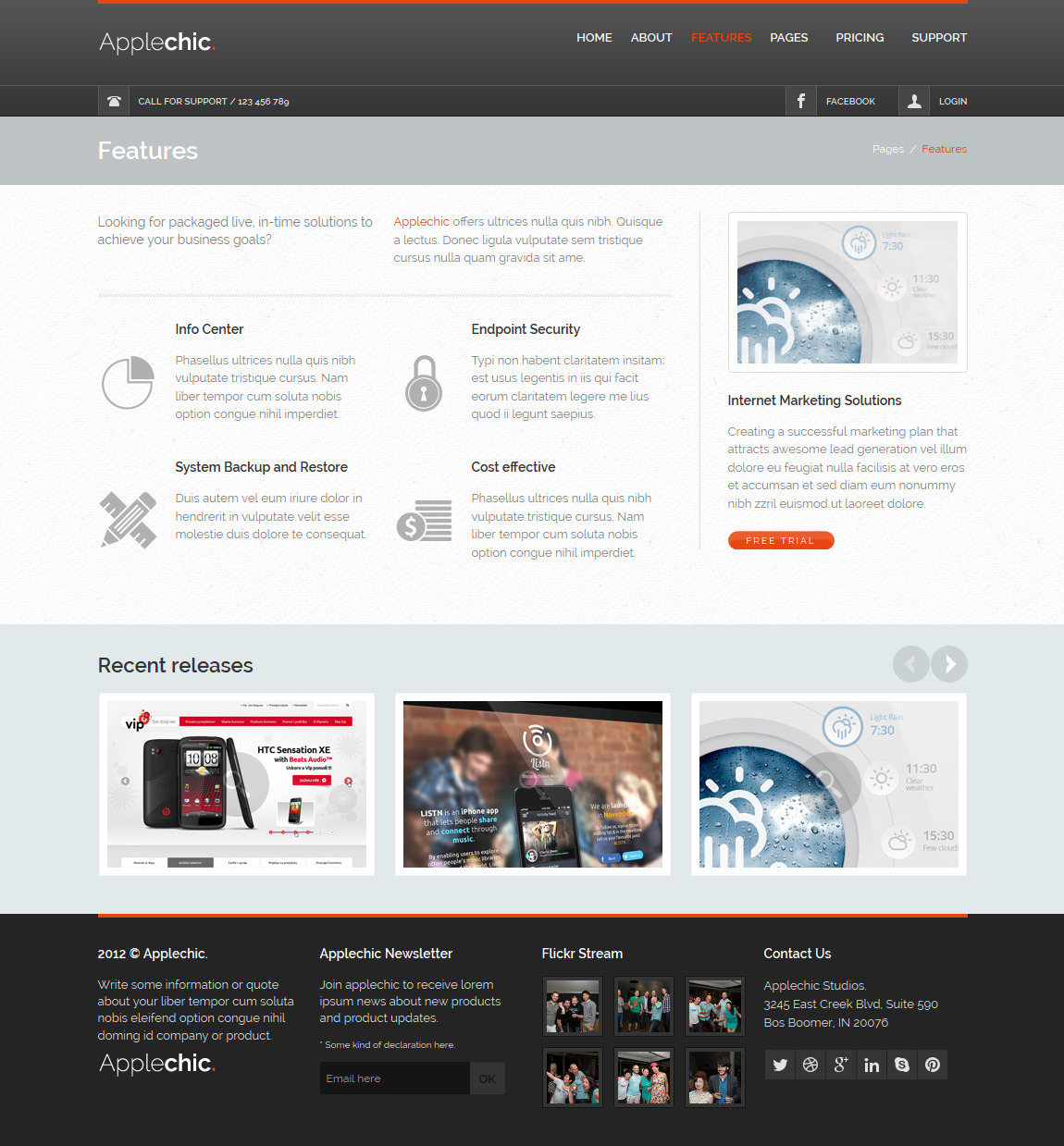 Applechic Responsive Software HTML Template