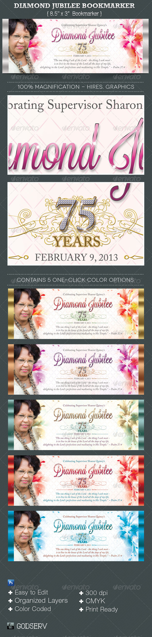 Diamond Jubilee Bookmarker Template - Miscellaneous Print Templates