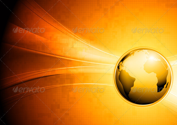 GraphicRiver Technology Waves Background with Globe 3844173