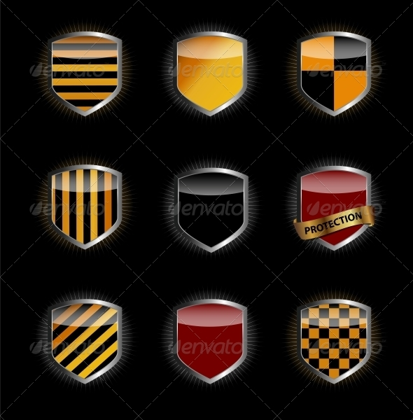 GraphicRiver Protect Shield Set Vector Illustration 3844220