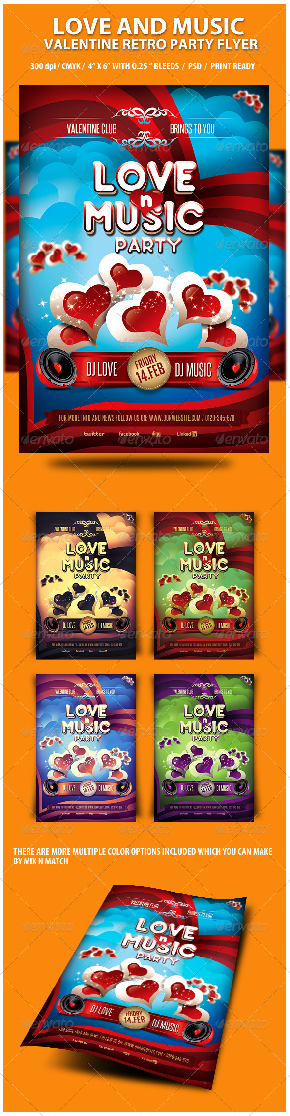 GraphicRiver Love and Music Valentine Retro Party Flyer 3767883