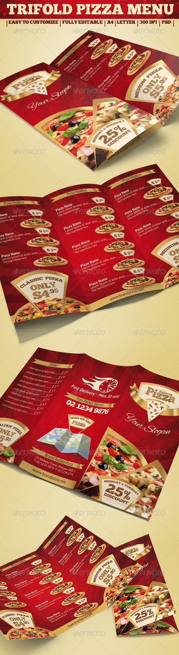 GraphicRiver Trifold Brochure Pizza Menu 3844510