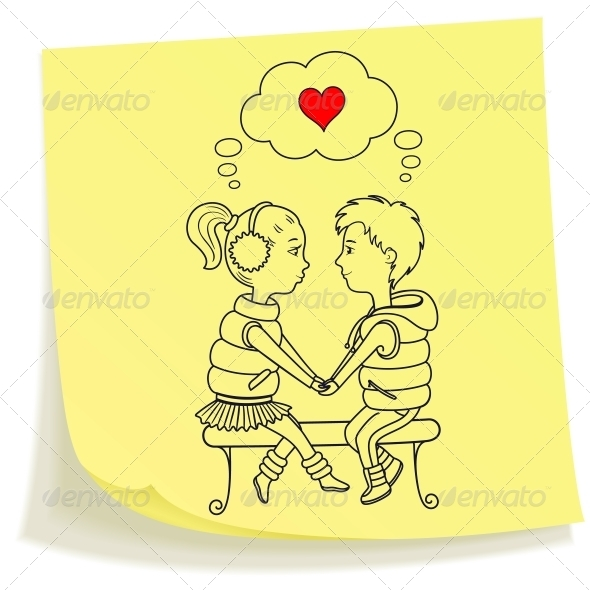 GraphicRiver Sticky note with drawn teens couple in love 3844604