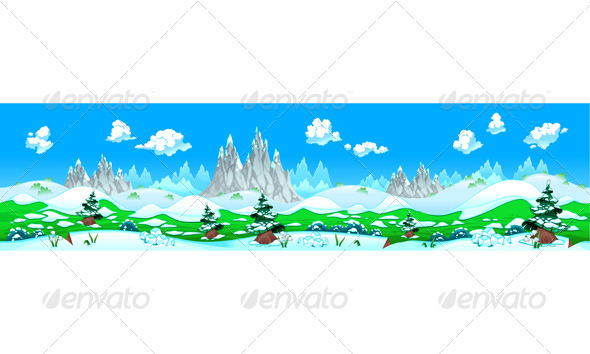 GraphicRiver Landscape with Snow and Mountains 3844787