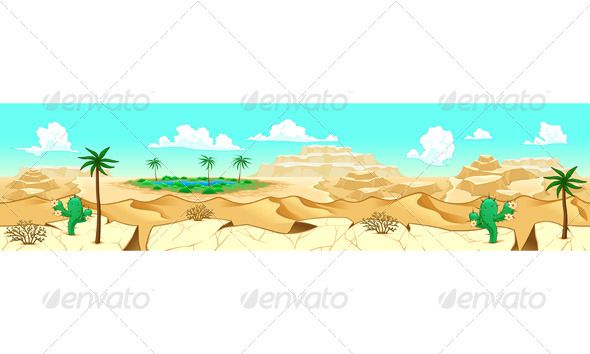 GraphicRiver Desert with Oasis 3844797