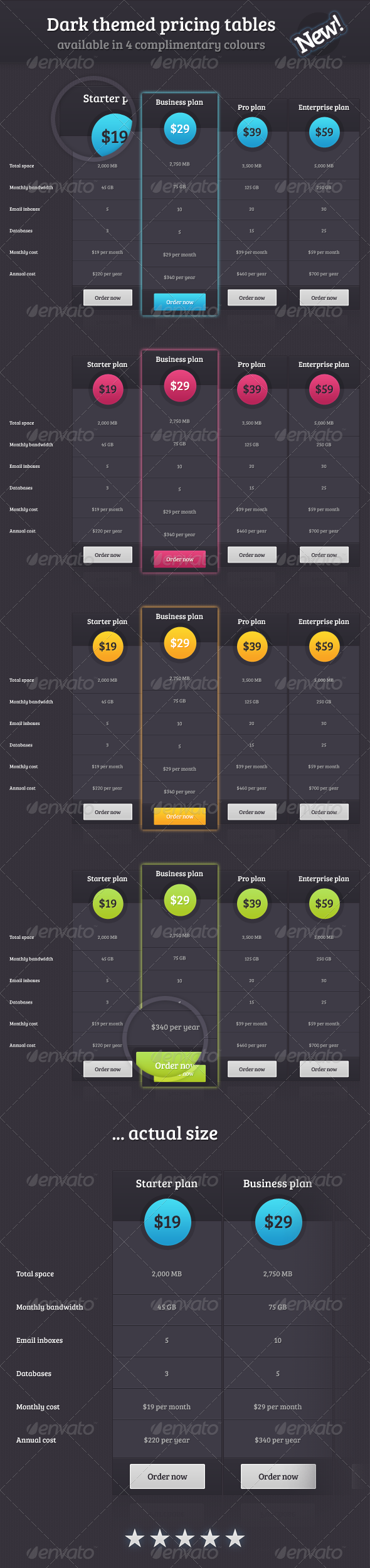 Dark Theme Pricing Tables - Tables Web Elements