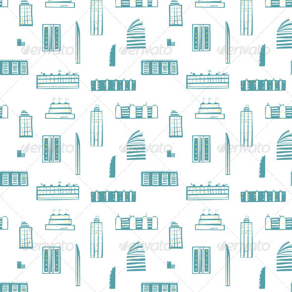 GraphicRiver City Buildings Seamless Pattern 3846035