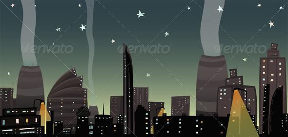 GraphicRiver Night City Landscape Cartoon 3846036