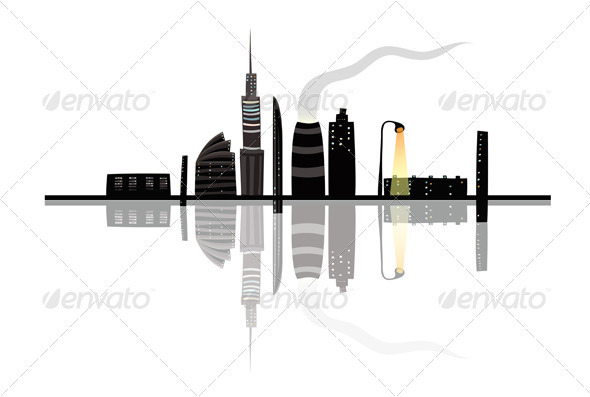 GraphicRiver Night City Landscape Reflection Cartoon 3846039