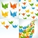 Origami Paper Birds Backgrounds.