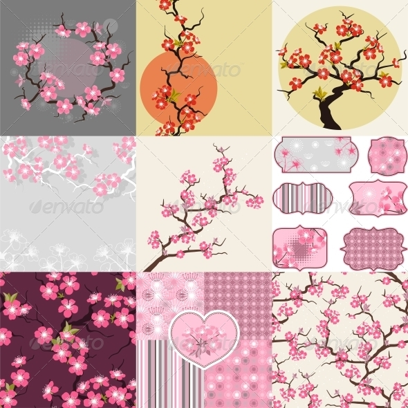 GraphicRiver Cherry Blossom Seamless Patterns Backgrounds 3846138