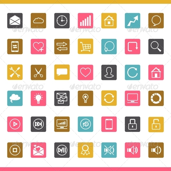GraphicRiver Set of 42 SEO Internet Icons 3846142
