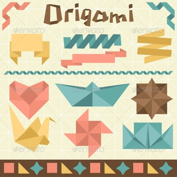 Retro Origami Set with Design Elements. - Miscellaneous Conceptual