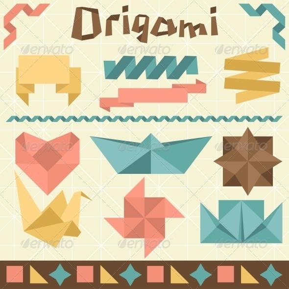 GraphicRiver Retro Origami Set with Design Elements 3846146