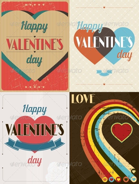 GraphicRiver Vintage Valentines Day Set of Backgrounds 3846149