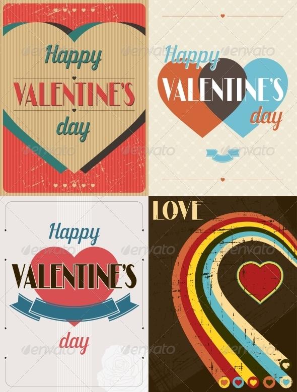 Vintage Valentines Day Set of Backgrounds.