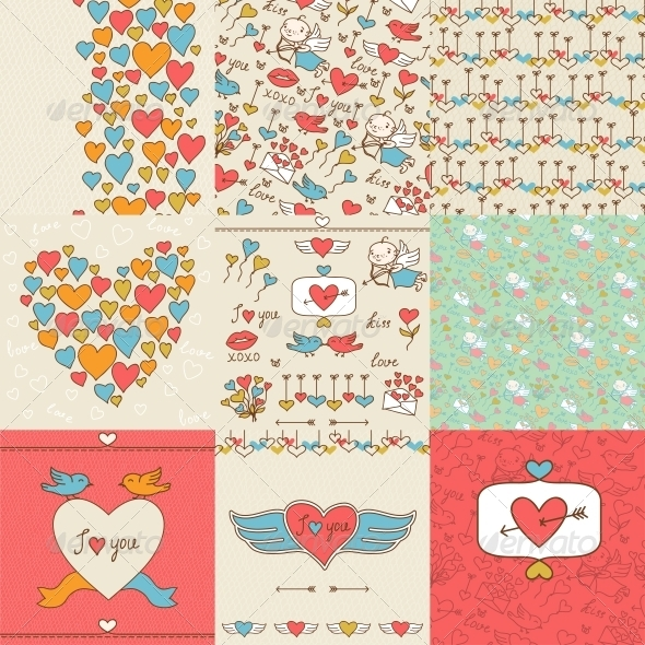 GraphicRiver Set of Valentine s Cute Doodles and Backgrounds 3846216