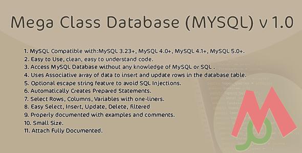 Mega Class Database (MYSQL) v 1.0