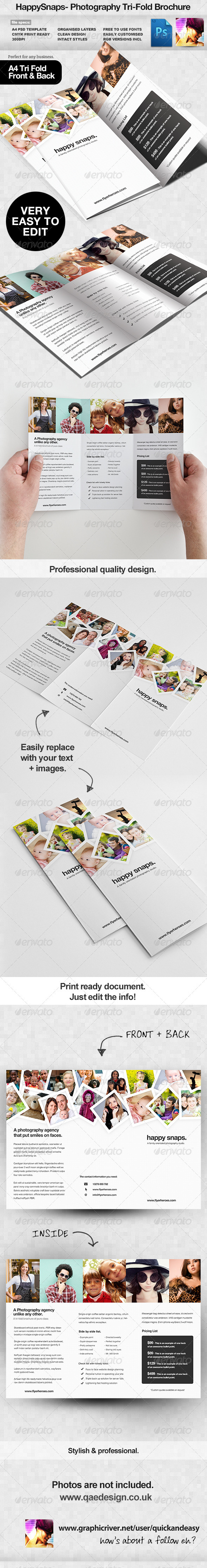 HappySnaps Photography Photographer Tri Fold