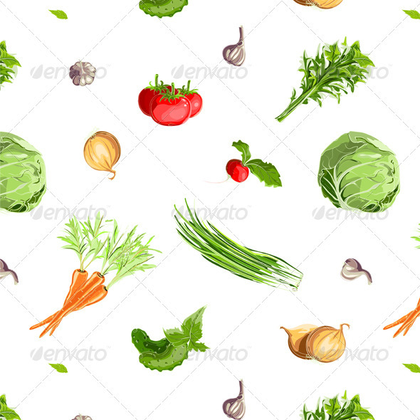 GraphicRiver Fresh Vegetables Seamless Pattern 3847196