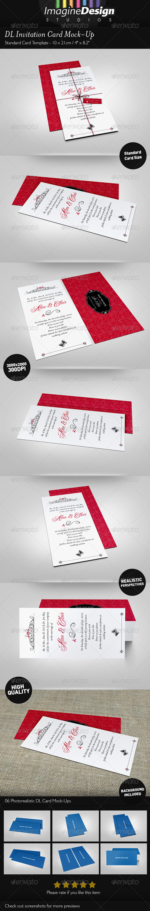 GraphicRiver DL Invitation Card Mock-Up 3847566
