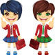 Vector Smiling Brunette Cute Schoolgirls - GraphicRiver Item for Sale