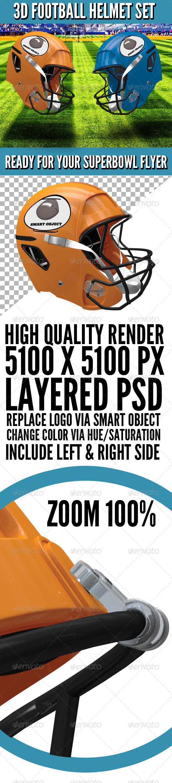 GraphicRiver 3D Football Helmet Set 3847721