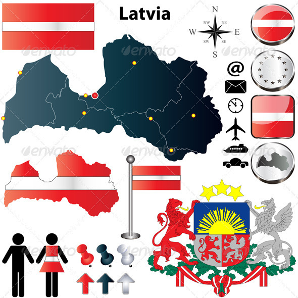 GraphicRiver Latvia Map 3847870