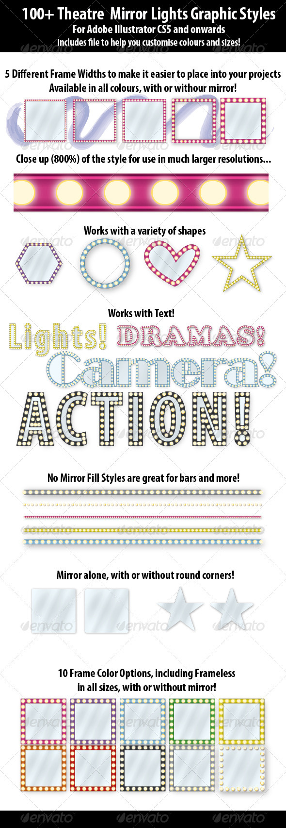 GraphicRiver 100& Theatre Mirror Lights Graphic Styles 3848098